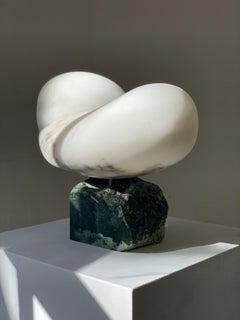'Ariel', Sculpture, Scaglione alabaster on a pounamu (NZ greenstone) base