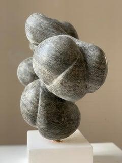 'Ballegan', Black Alabastar on scaglione alabaster base with brass turning pin
