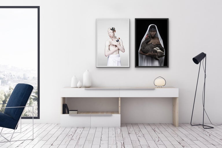 'This is a black swan', photographic gliclée print on 100% cotton fine art paper - Black Portrait Print by Justin Dingwall
