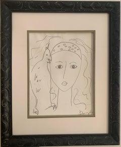 """Model With Bird"" Ink On Paper 2010 Framed"