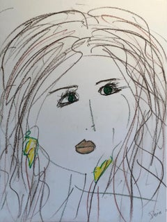 """Women With Earrings"" Ink On Paper 2011 Framed"