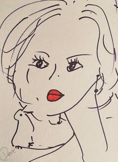 """Lovie"" Pen and Ink On Paper 2020 Black Frame"