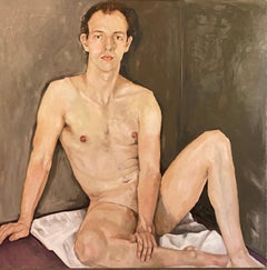 """Young man on a white sheet"""