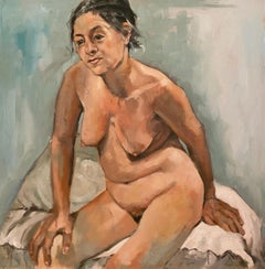 """""""Nude on a white pillow """" oil on canvas by Shana Wilson"""