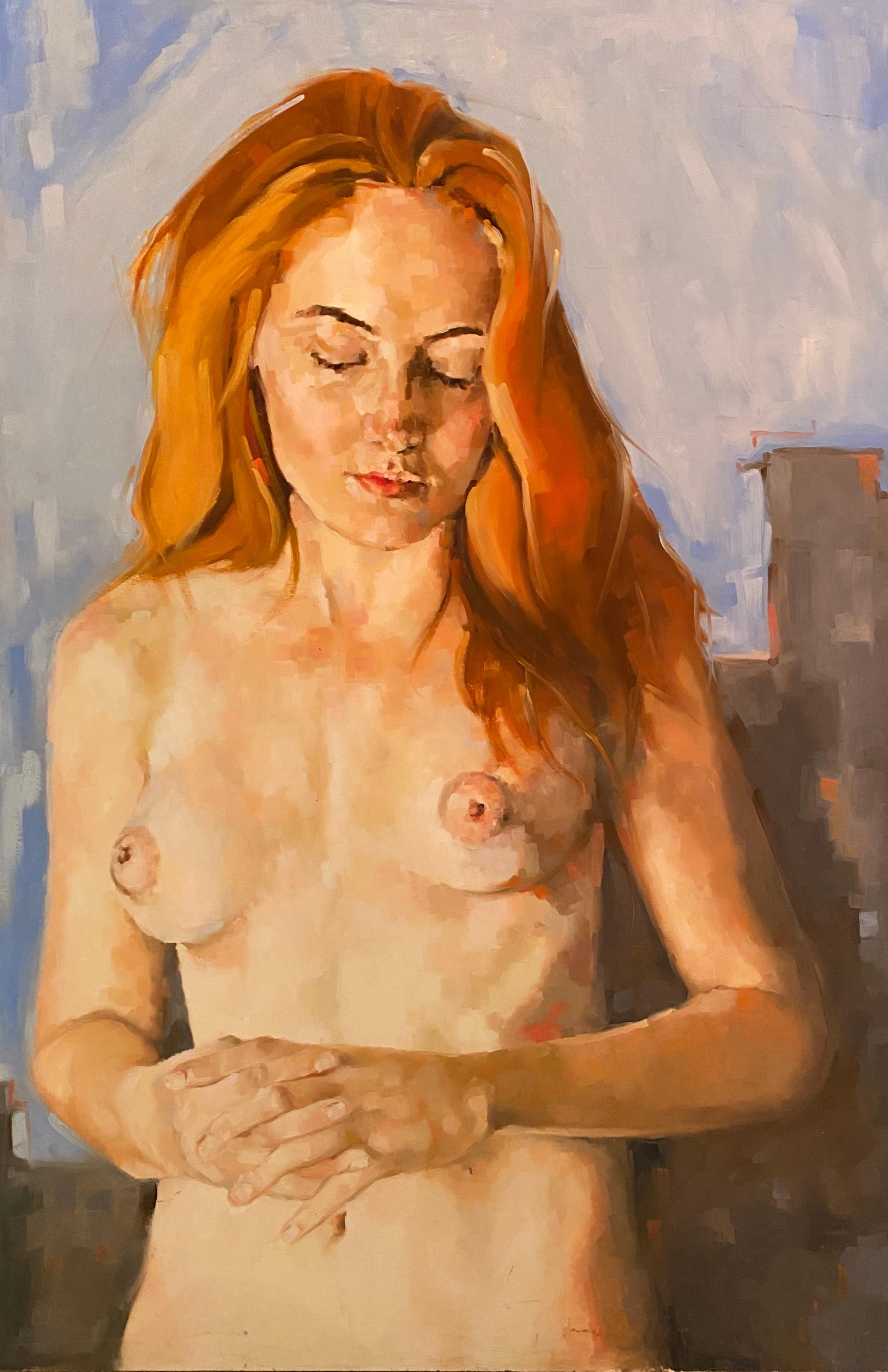 """""""Nude With Red Hair"""" oil on board by Shana Wilson"""