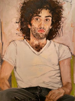 """Male model with black hair "" oil on canvas by Shana Wilson"
