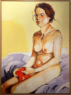 """""""Nude Holding Red Underwear"""" oil on canvas by Shana Wilson Framed"""