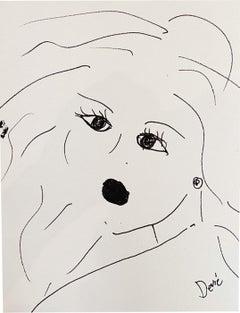 """Dark Eyes Dark Lips"" Acrylic and Ink On Paper Framed"