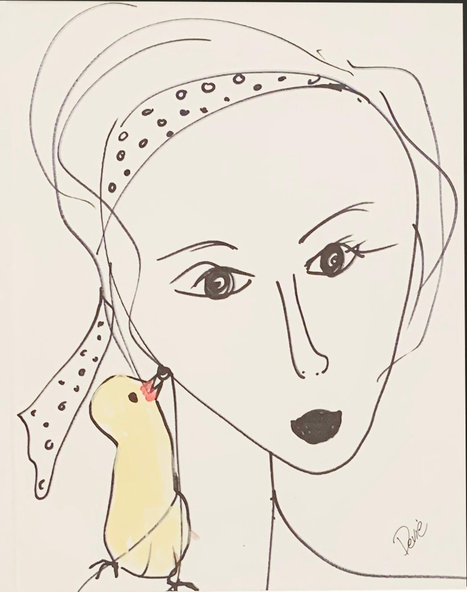 """Headband And A Bird"" Acrylic and Ink On Paper Framed"