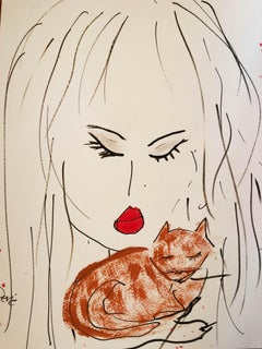 """Cat"" Acrylic and Ink On Paper By Devie"
