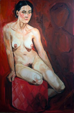 Nude on a red box