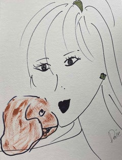 """A Women With A Dog"" Framed"