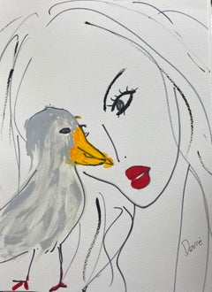 """Model with gray bird and yellow beak""  Acrylic and ink on paper Framed"