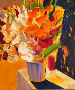 """""""Orange Flowers"""" oil on canvas by Ming Ming"""