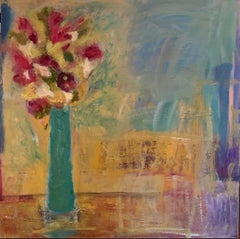 Green Vase And Red Flowers