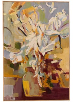 """""""White Flowers"""" oil on canvas by Ming Ming"""