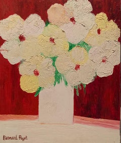 """""""White flowers on a red background"""""""