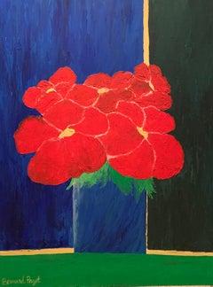 """Blue Vase Red Flowers"""