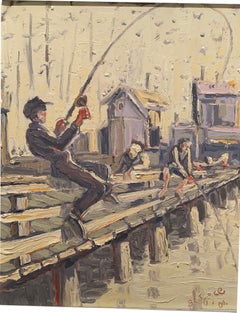 """""""Fishermen at the pier"""" oil on canvas by Blago"""