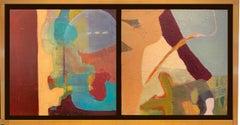 """""""The Bird"""" Oil on board diptych 20"""" x 31"""" framed"""