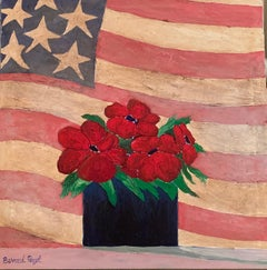 Red Flowers And America Flag