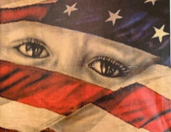 'American Compassion' oil and photography on canvas. One of a kind.