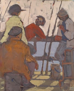 """"""" 4 Fishermen"""" oil on canvas by Blago"""