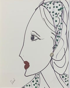 """""""Woman in Paris"""" Ink & Acrylic on paper framed by Devie"""