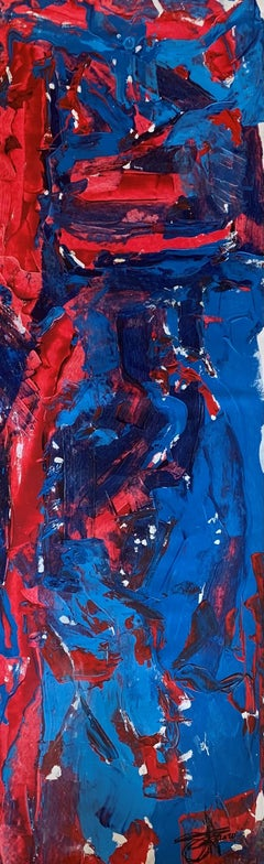"""""""Blue On Pink & Red"""" oil on canvas 19"""" x 70"""""""