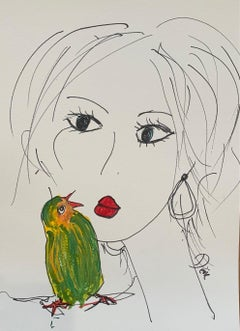 """""""Love Bird"""" Ink & Acrylic on paper framed by Devie"""