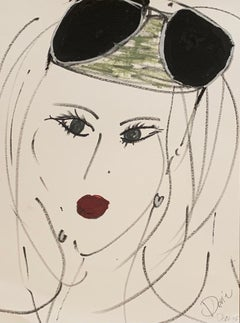 """""""Lady with sunglasses"""" Ink & Acrylic on paper framed by Devie"""