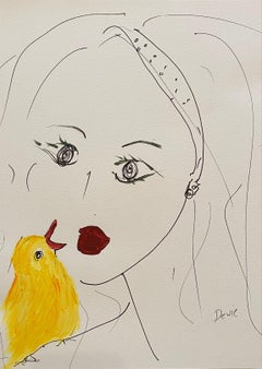 """'Portrait of A Lady & Bird' Acrylic and Ink On Paper 23"""" x 19"""" Framed"""