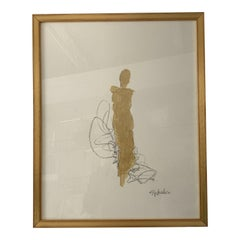 Signed Gold Figurative Painting