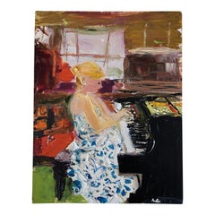 Lady On Piano Oil Painting
