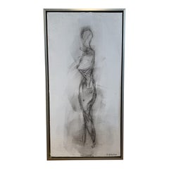 Framed Nude Painting on Canvas