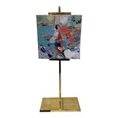 Abstract Oil on Gold Brass Easel Artist Stephanie Wheeler