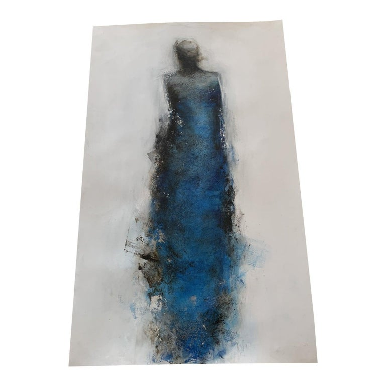 """Title: """"Finding Flow""""   Mixed Media on Paper    Stunning electric Blue with Silver. Tracys pieces are very textured and layered. This particular one is unframed.  Tracy Sharp, daughter of Felice Sharp and mother of two boys, paints abstract"""