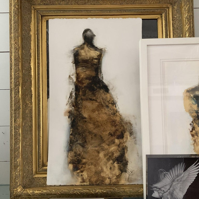 Figurative Paper Piece with Gold Leaf by Tracy Sharp Signed on Back - Unframed Mixed Media on Paper  Framing Available upon Request/Additional Fees   Tracy Sharp began her career not as an artist but as a real estate broker. After a change in