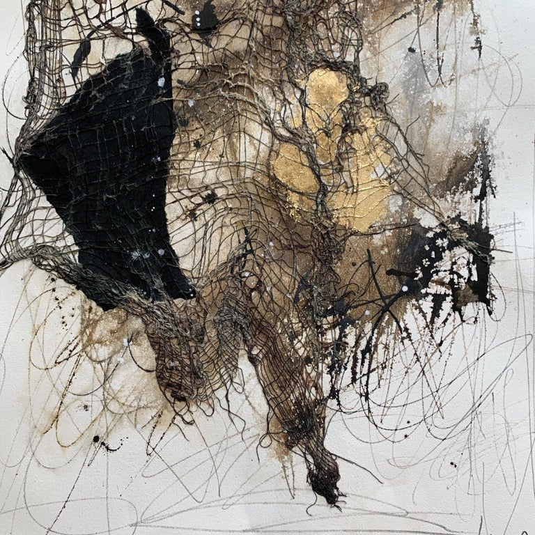 Mixed Media on Paper - Beige Abstract Painting by Joe Adams