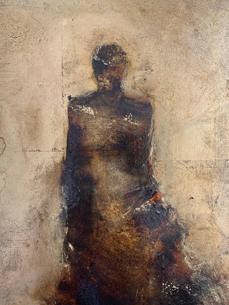 Mixed Media by Tracy Sharp  On Wood Panel  Gold Leaf - This piece has great texture and movement. The gallery currently has a series of 3 in this size. Each piece art piece is sold individually.  Signed on the Reverse  Wired and easy to hang. The