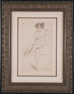 "Original Drawing ""Jeune Femme Assise"" by Paul Cesar Helleu, c. 1910"