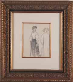 """Unique """"Untitled"""" Crayon Drawing by Steinlen"""