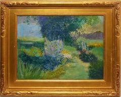19th Century Female Impressionist Flower Garden Landscape by Helen Butman