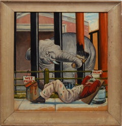 Early American Elephant Illustration, Painting the Zoo by Oscar Liebman