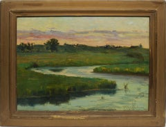 Antique American Impressionist Sunset New England Marsh Landscape Oil Painting