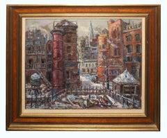 Lower Manhattan Cityscape American Artist WPA Era NY School c. 1930 Henry Ensol