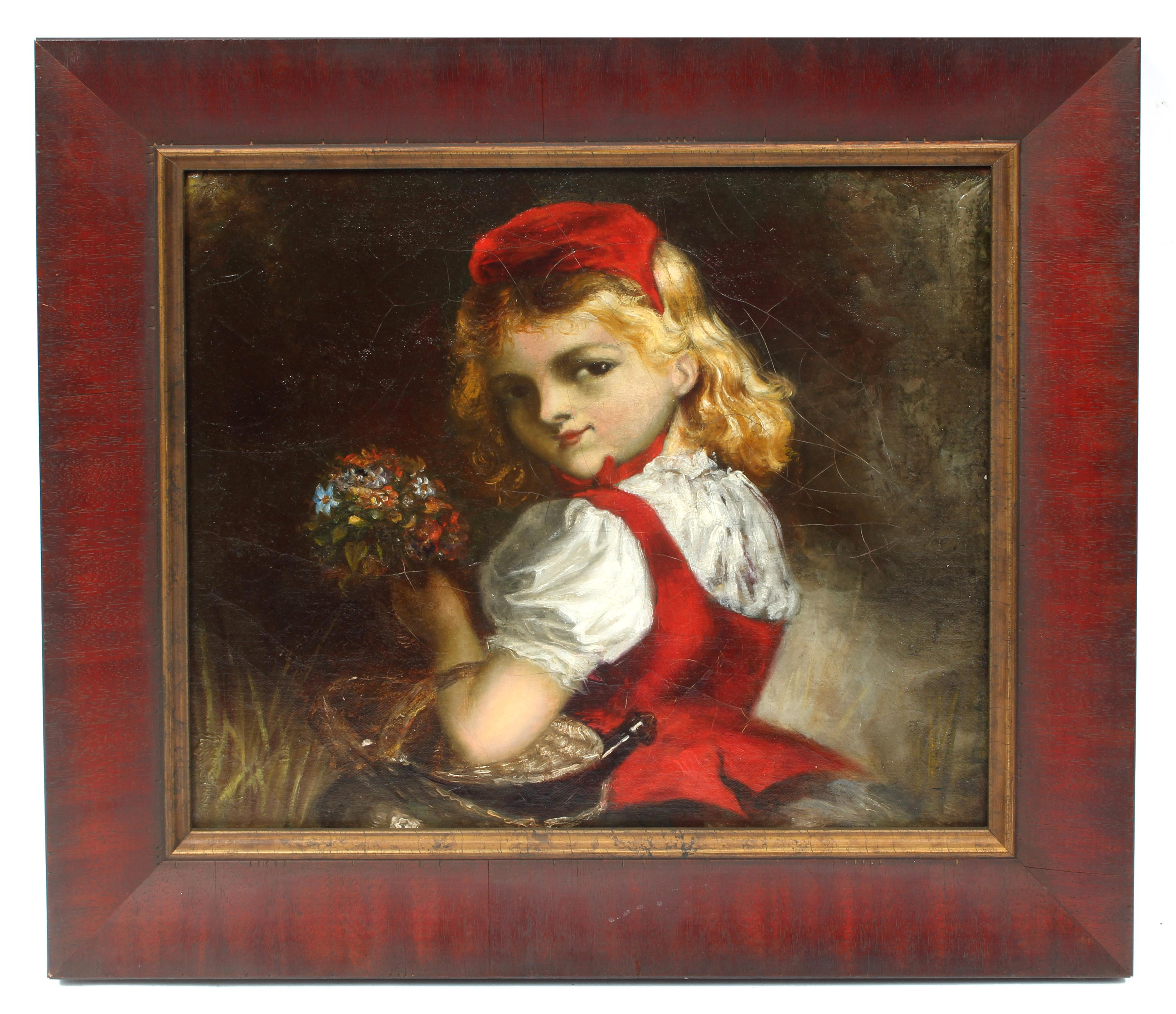 Antique American Impressionist Painting Red Riding Hood Framed 19th Century