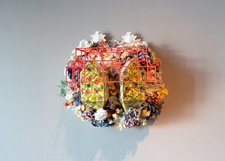 Colleen Toledano Porcelain wall sculpture Floral Colorful Conceptual Porcelain - Sculpture by Collen Toledano