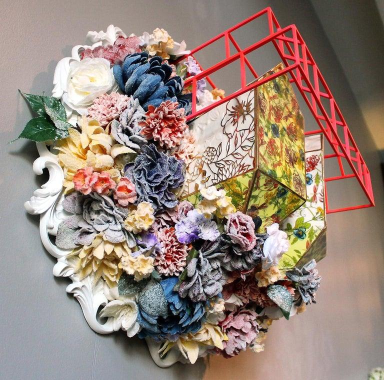 Collen Toledano Abstract Sculpture - Colleen Toledano Porcelain wall sculpture Floral Colorful Conceptual Porcelain