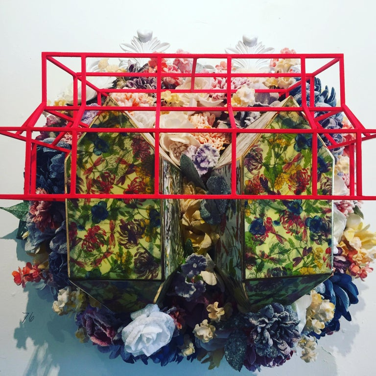 A whimsical conceptual mixed media wall sculpture by American contemporary artist Colleen Toledano.  This work is currently featured in the artist's solo exhibition at The Corridors Gallery at Hotel Henry, a Resource:Art Project.  Pictorial